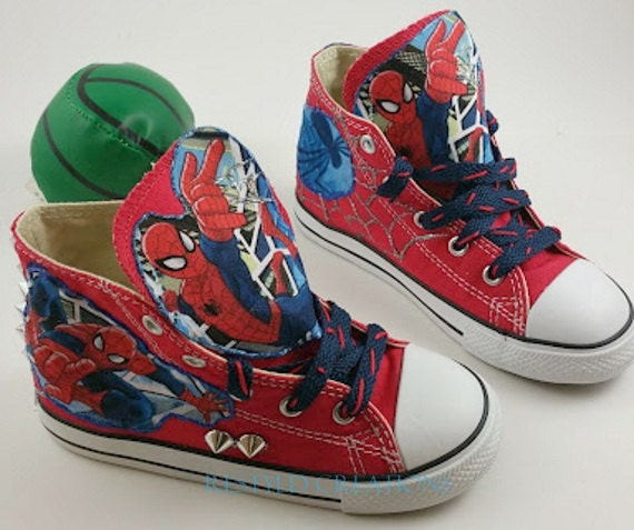 """Customized """"Spiderman"""" Converse Shoes/ Customized Chuck Taylors"""
