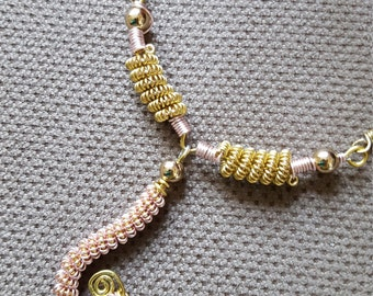 Sun & Moon Gold plated with Rose Pink Wire Coiled Leather Necklace
