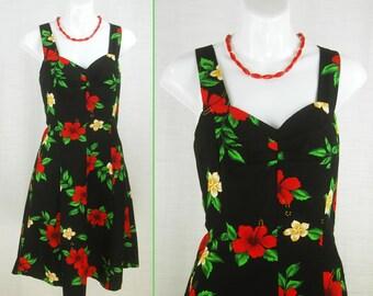 VTG 80s ~Royal Creations~ Festival Beach elastic waist Hibiscus Black Mini Dress  sz M