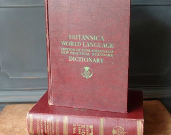 Vintage Brittanica World Language Dictionary, 1956, 2 Volumes, Scrapbooking, Books, Decor, Pages, Translations, Craft