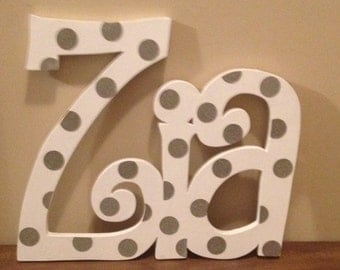 Wooden Name or Word Personalized Customized Letters, Connected Wall Hanging Baby Kids Nursery