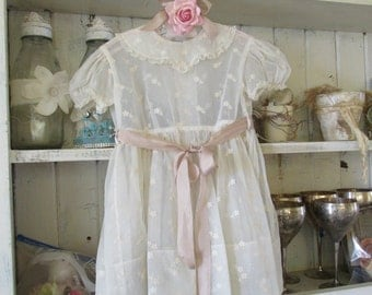 Girls vintage sheer dress ivory fabric, little girls dress shabby cottage chic home nursery decor or wearable clothing anita spero design