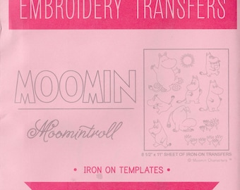 Moomin Sublime Stitching Modern Hand Embroidery Pattern - Re-usable Iron On Transfer Pattern for Woodburning, Embroidery - Moomintroll