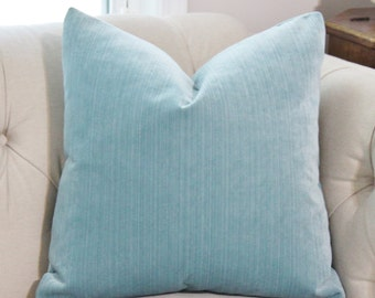 Pale Aqua Blue Pillow - Aqua Blue Striped Velvet Pillow Cover - Throw Pillow - Blue Velvet Pillow - Decorative Pillow Cover - Motif Pillows