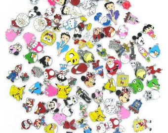 Mix of 50 enamel charms, for jewelry making, scrapbooking, birthday gifts, purse clips, zipper pull. earrings, necklaces, bracelets