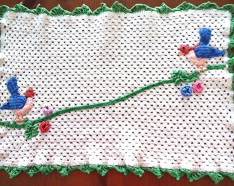 Vintage Crocheted Doily: Birds on a Vine with Flowers 1940s Unusual