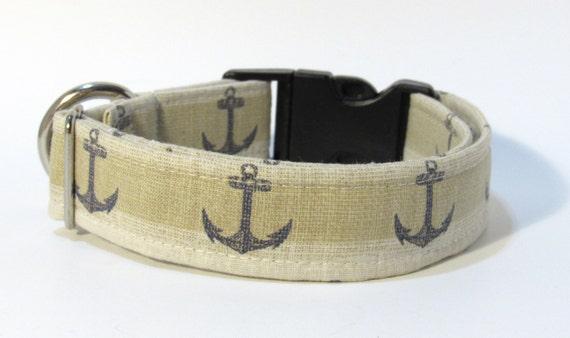 Anchor Dog Collar, Dog Collar, FREE SHIPPING, Anchor, adjustable dog collar