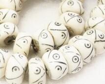Kenya Bone Beads (10), African Bone Beads , Ethnic Beads, Carved Bone Beads (C109)