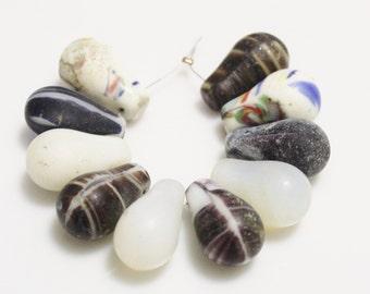 African Wedding Beads, African Trade Beads, Tear Drop Beads ,mali Beads (k103)
