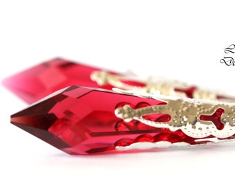 Ruby Earrings Pink Earrings Raspberry Earrings Swarovski Crystal Long Earrings Swarovski Icicle Drop Earrings Birthstone Earrings RP36