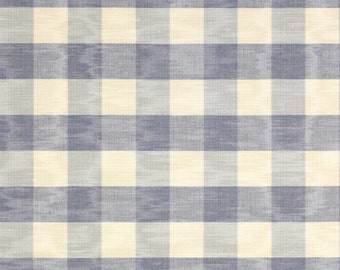 COLEFAX FOWLER FRENCH Country Checks Moire Fabric 10 Yards Vintage Blue