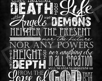 Scripture Art - Romans 8:38-39 ~ Chalkboard Style