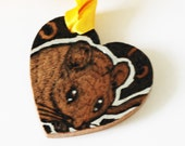 Pyrography Wood Burning -  Mouse Love Token - Wooden Heart Gift