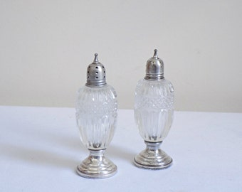 Circa 1920 Sterling Weighted Clear Cut Glass Pair Salt and Pepper Shakers - Antique Sterling Holloware Serving Tableware Sheffield - Vintage