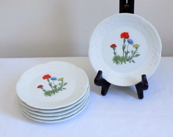 Vintage Set of French Porcelain Small Side Serving Plates - Berry Haute France - Floral Crisp White Desert Appetizer Plate Canapé Cottage