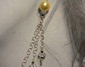 Golden Shell Pearls and Crystal Quarts Earrings