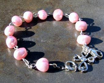 Ladies Girls Decade Catholic Rosary Bracelet – Pink Freshwater Pearl Handmade Rosaries – Catholic Confirmation Wedding Communion Clear