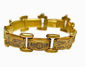 Damascene Link Bracelet Golden brass and Black floral design bangle