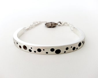 Simply Modern Style Bangle Bracelet in Sterling Silver, Polka Dot Pattern in Brush Finished Jewelry, Unique and Handmade Fine Jewelry