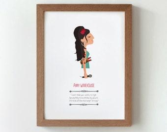 Illustration. Amy Winehouse. Print. Wall art