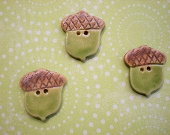 Acorn Buttons - Hand made pottery buttons - set of 3