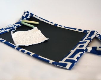 Portable Chalkboard Play Mat/ Placemat Mini  - Limited Edition Blue and White Monochrome Print