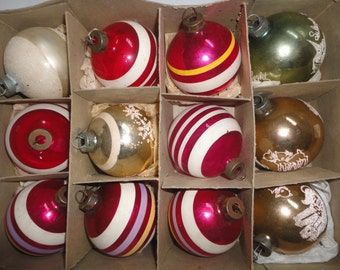 Vintage Box of Stripped and Stenciled Christmas Ornaments Made in the US of A Glass Ornaments Flocked Ornament Stenciled Ornaments Christmas
