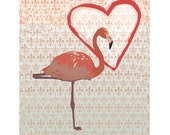 Pink Flamingo Art Print Love Wall Art Decor Flamingo Valentine's Day Party Love Poster  / 8x10in