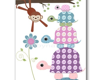 Purple Pink Nursery Monkey Wall Art Turtle Wall Art Baby Girl Room Decoration Childrens Decor Kids Wall Art Baby Girl Nursery Print