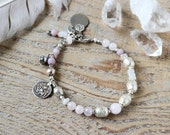 yoga bracelet - yoga jewelry - Rose quartz and silver Hanuman amulet bracelet - gemstone yoga bracelet