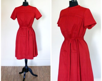 Vintage Red Dress Belted Raised Geometric Design Polyester Size Large