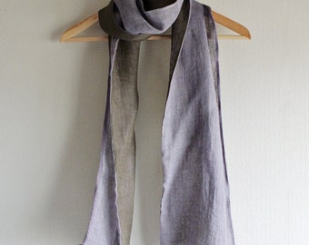 S A L E  Natural (Cochineal / Bayberry) dyed double faced Linen scarf