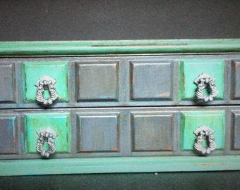 Gray Teal Damask Jewelry Box, Painted Decoupaged Musical Jewelry organizer, Lots of Jewelry Storage, Wood Jewelry Cabinet, Men's Jewelry Box