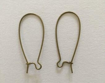 20 x Kidney earring wires - Antique Bronze