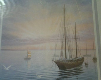 SAILBOAT framed Artwork. 11 x 14 1970