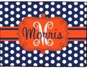 Personalized Orange Navy Door Mat Monogrammed Polka Dots Doormat Dorm Decor Welcome Mat Floor Rug Choose Colors