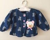 80s Denim Teddy Bear Print Jacket with Stuffed Bear Head Applique and Ruffle Bow Back, Size 12 Months