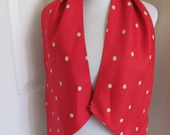 "Scarf Red Ploka Dot Retro 2 Layer Acetate Scarf - 10"" x 56"" Long - Affordable Scarves!!!"