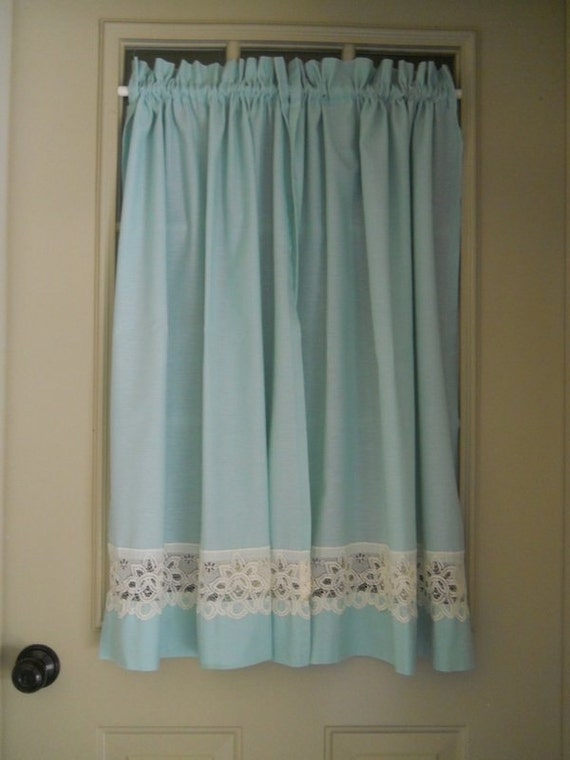 retro sea foam green lace curtain panel set nursery bath