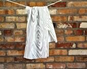 BARK Tea Towel:  Wood Grain Screen Print, Gray Ink on White Cotton, Kitchen Linens, Stocking Stuffer, Hostess Gift, Neutral, Eco Friendly