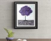 Purple Tuft Tree Signed Art Print of Signature Original By Rafi Perez
