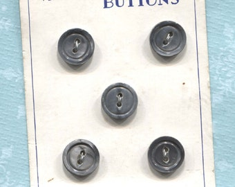 Group of Vintage Gray Mother of Pearl Buttons on Cards -Item#122