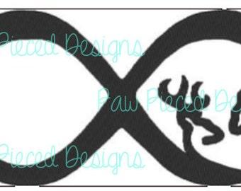 Deer Love Infinity Embroidery Design