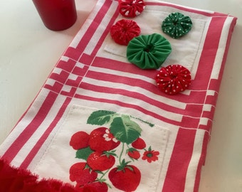 vintage cotton dish tea towel red tablecloth strawberries OOAK embellished chic shabby cottage mid century kitsch
