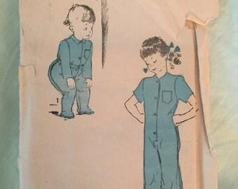 vintage advance pattern 4443 sz 4 pajamas1940s rare jumpsuit