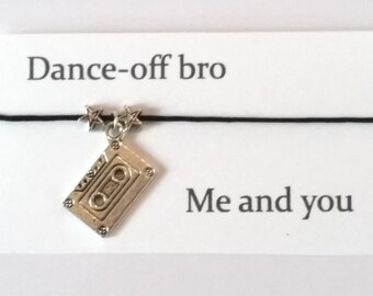 Guardians of the Galaxy themed Bracelet on waxed cotton cord with message card OR Silver Plated Key Ring OR Silver Plated Necklace