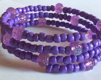 "Beautiful ""Grape Ape"" Beaded Memory Wire Bracelet"