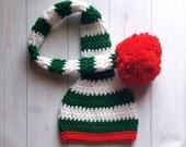 Crochet Baby Elf Hat, Crochet Baby Christmas Hat, Crochet Christmas Baby Hat, Crochet Baby Photo Prop Hat, Baby Elf Christmas Hat