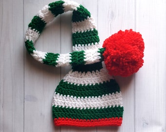 Crochet Baby Elf Hat, Crochet Baby Christmas Hat, Christmas Baby Hat, Crochet Baby Photo Prop Hat, Baby Elf Christmas Hat, Long Tail Beanie
