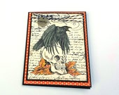 Skull and Raven Halloween Card, Wicked, Spooky, Fall Graveyard blank card